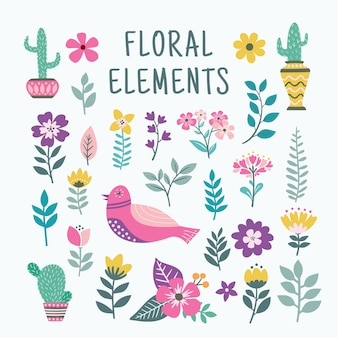 Beautiful floral elements set