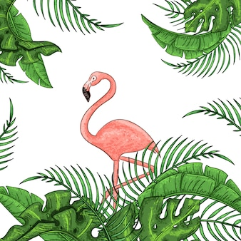 Beautiful floral exotic pink flamingo with tropical leaves.