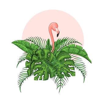 Beautiful floral exotic vector illustration with pink flamingo