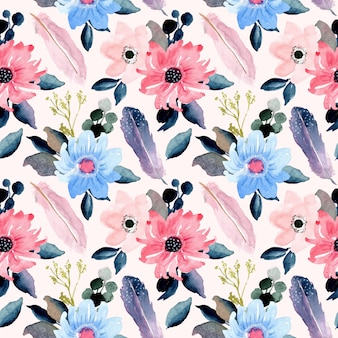 Beautiful floral and feather watercolor seamless pattern