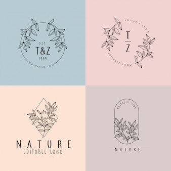 Beautiful floral feminine editable premade monoline logo