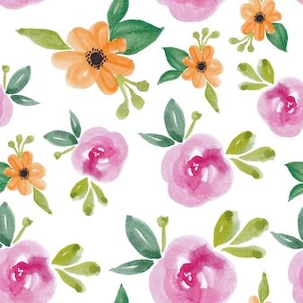Beautiful floral flower watercolor seamless pattern design