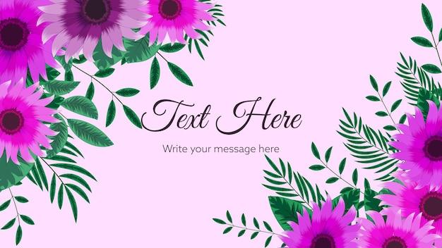 해바라기 자연 꽃이 있는 아름다운 꽃 프레임 배경 템플릿은 나뭇가지 텍스트를 남깁니다.