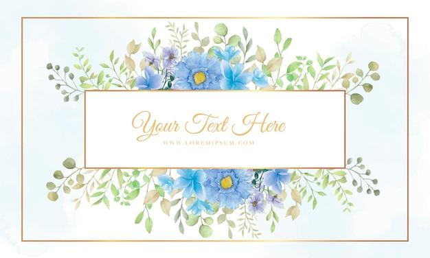 美しい花と美しい花のフレームの背景と水彩画を残します
