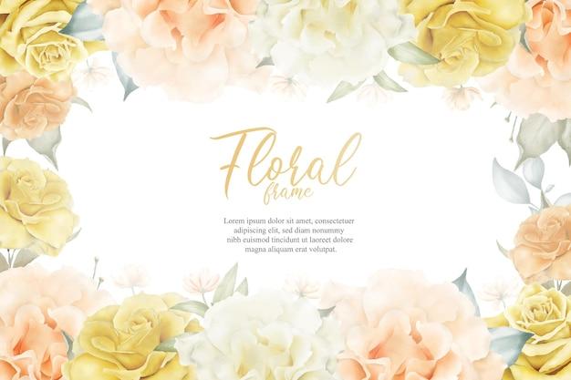 꽃 일러스트와 함께 아름 다운 꽃 프레임 배경