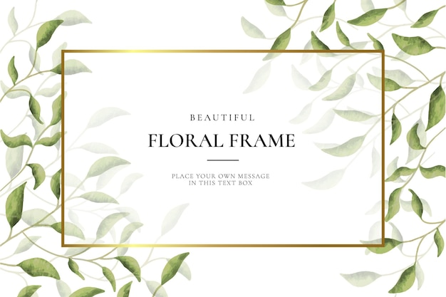Beautiful floral frame background with leaves