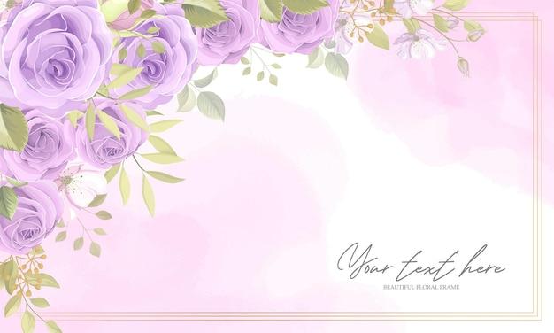 紫色のバラと美しい花のフレームの背景