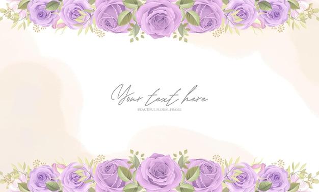 Красивая цветочная рамка с фиолетовыми розами