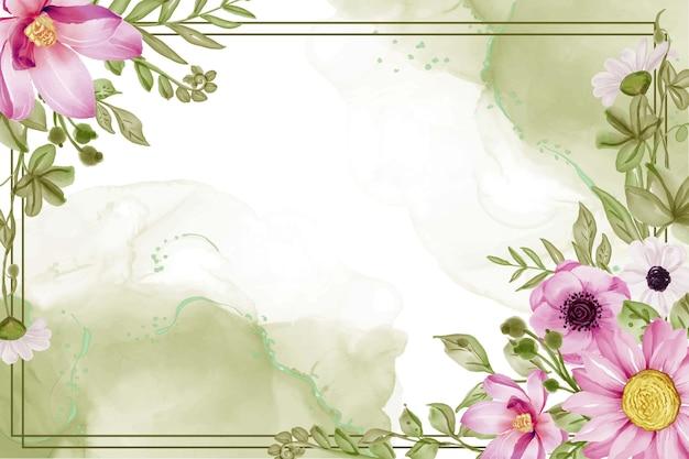 緑の葉とピンクの柔らかい花と美しい花のフレームの背景