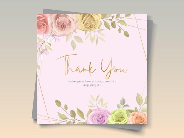 やわらかな色の美しい花柄フレームカード