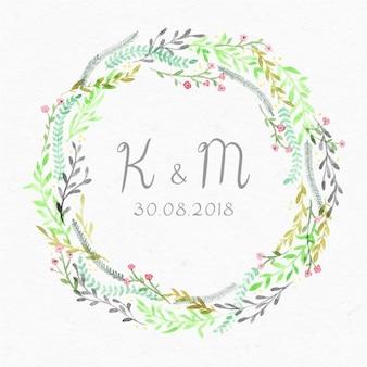 結婚式の招待状のための美しい花のフレーム