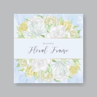 水彩花とウェディングカードの美しい花のフレーム