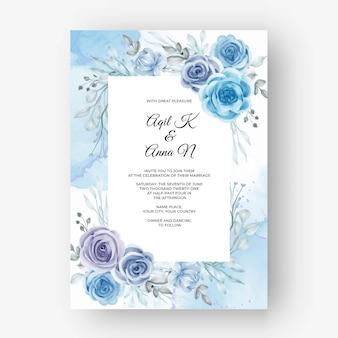 花の水彩ブルーとの結婚式のための美しい花のフレーム