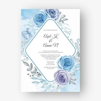 꽃 수채화 블루와 결혼식을위한 아름다운 꽃 프레임