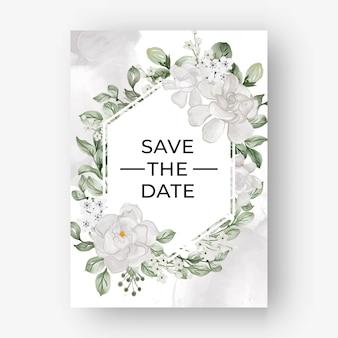 Красивая цветочная рамка на свадьбу с белым цветком гардении