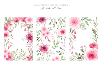 Beautiful Floral Frame in Soft Pink Colors