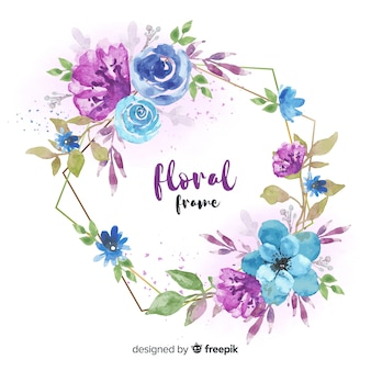 Beautiful floral frame in watercolor design