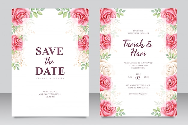 Beautiful floral frame multi purpose wedding invitation card template