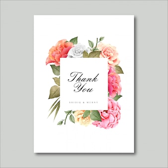 Beautiful floral frame, thank you card