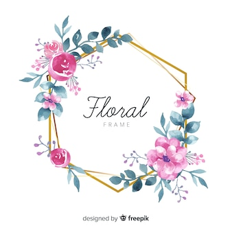 Beautiful floral frame in watercolor style