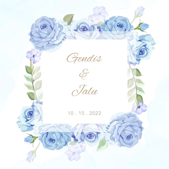 Beautiful floral frame wedding card
