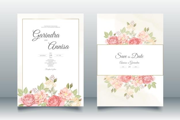 美しい花のフレームの結婚式の招待カードテンプレートプレミアムベクトル