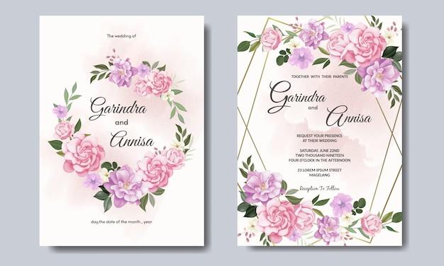 Красивая цветочная рамка свадебного приглашения шаблон premium vector