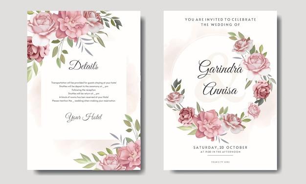 美しい花のフレームの結婚式の招待カードテンプレートセット