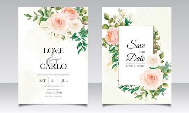 Красивая цветочная рамка свадебный пригласительный билет набор шаблонов