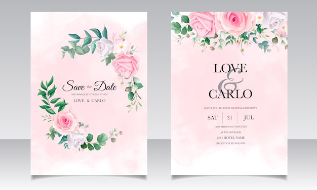 Beautiful floral frame wedding invitation card template set