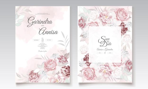 Шаблон свадебного приглашения с красивой цветочной рамкой