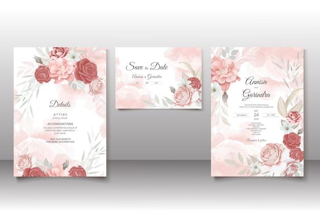 美しい花のフレームの結婚式の招待カード テンプレート