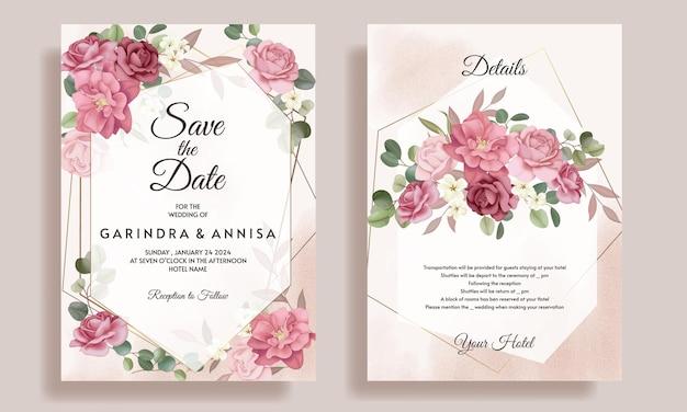 아름 다운 꽃 프레임 결혼식 초대 카드 서식 파일