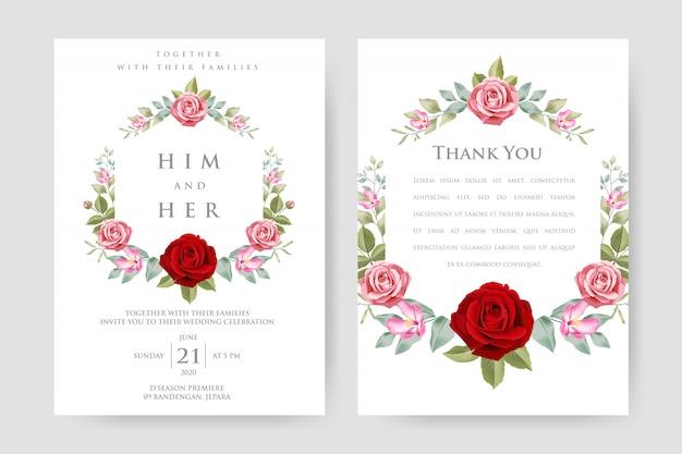 Beautiful floral frame, wedding invitation template