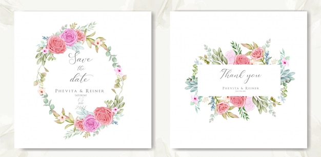 Beautiful floral frame for wedding invitation and thank you card