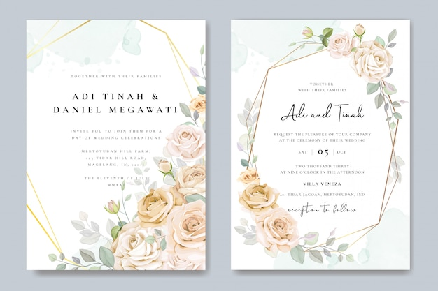 Beautiful floral frame wedding invitation