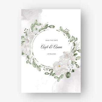 Bellissima cornice floreale per matrimonio con fiore bianco gardenia