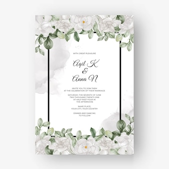 Beautiful floral frame for wedding with gardenia white flower