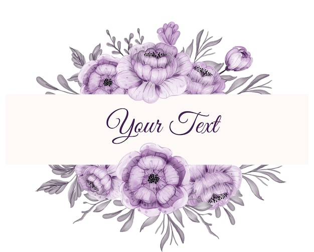 Beautiful floral frame with beautiful flower purple with leaves