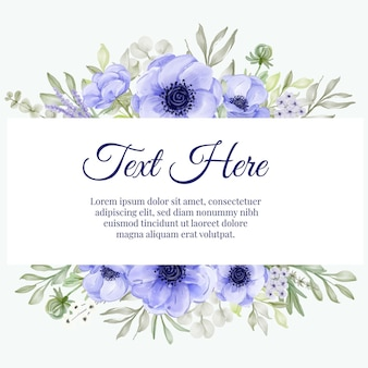Beautiful floral frame with elegant anemone purple