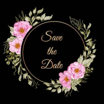 エレガントなベビーローズピンクの美しい花柄フレーム。日付カードを保存します