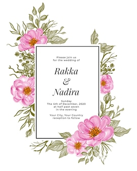 Beautiful floral frame with elegant baby rose pink. wedding invitation