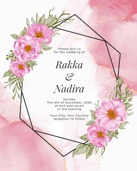 エレガントなベビーローズピンクの美しい花柄フレーム。結婚式招待状