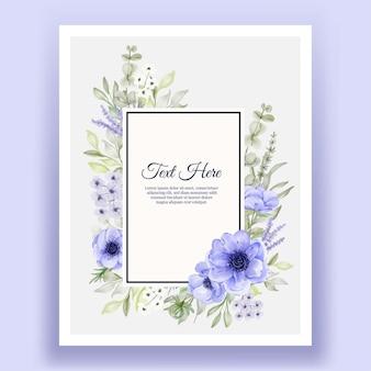 Красивая цветочная рамка с элегантным цветком анемона фиолетовым и белым