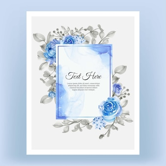 Beautiful floral frame with elegant flower blue