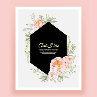 Beautiful floral frame with elegant flower peonies peach and white