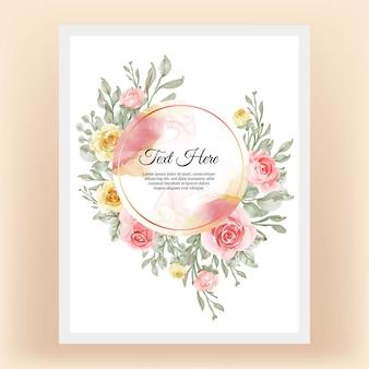 エレガントな花の黄色い桃と美しい花のフレーム