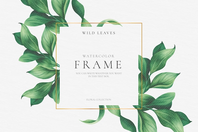 Beautiful floral frame with elegant leaves
