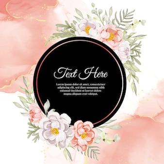 Красивая цветочная рамка с элегантными пионами персикового и белого цветов