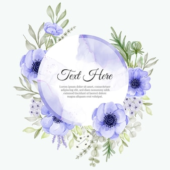 Красивая цветочная рамка с элегантным фиолетовым анемоном
